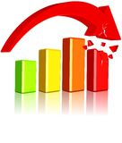 Decrease Business Chart. Three dimension style and high quality image Royalty Free Stock Images