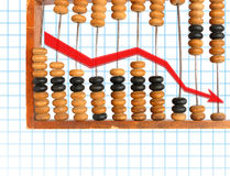 Decrease diagram on abacus Royalty Free Stock Photography