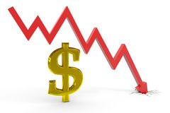 Decrease dollar graph. Royalty Free Stock Image
