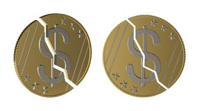 Decrease in dollar value concept. The dollar coin is split in two in two angles. The fall in the value of the dollar. Currency dep stock illustration