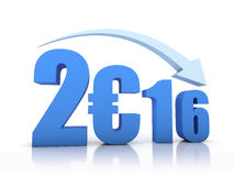 Decrease 2016 and Euro With Arrow. In white background royalty free illustration