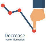 Decrease graph, declining. Decrease graph. Businessman hand down profit business chart. Stock financial trade market diagram. Vector illustration flat design Stock Image