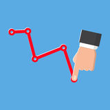 Decrease graph vector isolated icon on blue background. Decrease graph. Businessman hand down profit business chart. Stock financial trade market diagram. Vector Royalty Free Stock Image