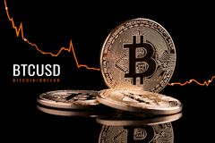 Decrease in the value of bitcoins relative to the dollar. Reduction of the value of the crypto currency in the financial market Stock Photography