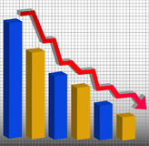 Decreasing bar graph. Graph showing decrease in profits or earnings in 3D - vector Royalty Free Stock Photo