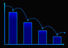 Decreasing bar graph with blue arrow . Isometric bar graph with two axes and columns, showing the rapid decline on a black backgro. Und Royalty Free Stock Photo