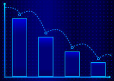 Decreasing bar graph with blue arrow . Isometric bar graph with two axes and columns, showing the rapid decline on a blue backgrou. Nd Royalty Free Stock Image