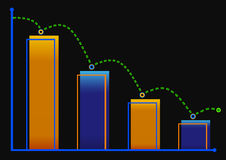 Decreasing bar graph with green arrow . Isometric bar graph with two axes and columns, showing the rapid decline on a black backgr. Ound Stock Photo