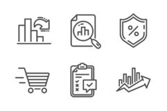 Decreasing graph, Checklist and Delivery shopping icons set. Vector. Decreasing graph, Checklist and Delivery shopping icons simple set. Analytics graph, Loan royalty free illustration