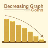 Decreasing graph of golden coin stack, gold money in business concept vector. Decreasing graph of golden coin stack, gold money in business concept, flat design Stock Image