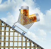 Decreasing Healthcare Costs. And lower medicine prices health care concept as a shopping cart with prescription drug bottles going downward on a track as a stock illustration