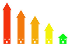 Decreasing house prices. Prices decreasing and houses getting cheaper vector illustration