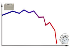 Decreasing money over time. Line graph illustrating the trend of decreasing value of money over time stock illustration