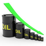 Decreasing oil barrels graph. Royalty Free Stock Images