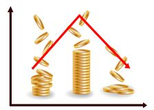 Decreasing piles of coins with going down graph. Concept for financial fall.  royalty free illustration