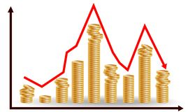 Decreasing piles of coins with going down graph. Concept for financial fall.  stock illustration