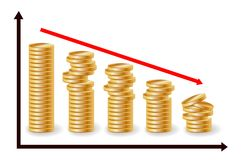 Decreasing piles of coins with going down graph. Concept for financial fall. Decreasing piles of coins with going down graph. Concept for financial fall stock illustration