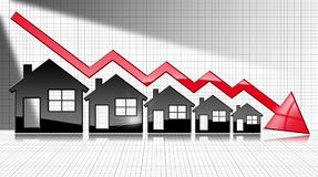Decreasing Real Estate Sales - Graph with Houses. Decreasing real estate sales - 3D illustration of five house-shaped symbols and a graph falling with a red Royalty Free Stock Photo