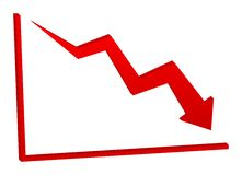 Decreasing red arrow on the chart Royalty Free Stock Image