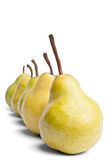 Decreasing series of Packham pears. On a white background Stock Photo