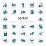 Decred Crypto Currency icons set. For web design and application interface, also useful for infographics. Vector illustration Stock Photo