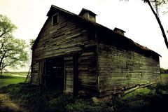 Decrepit barn perspective. Distorted perspective view of grunge decrepit barn Royalty Free Stock Photography