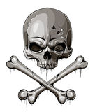 Decrepit skull with two crossed bones Stock Photo