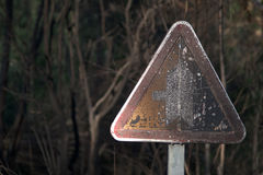 Decrepit warning sign Royalty Free Stock Photography