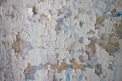 Decrepit White Dirty Plaster Wall With Cracked Structure Horizontal Empty Grunge Background. Old Gray Grey Mortar Wall With Rough stock photos