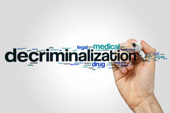 Decriminalizationswort-Wolkenkonzept auf grauem Hintergrund Lizenzfreie Stockbilder