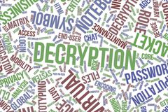 Decryption, conceptual word cloud for business, information technology or IT. Decryption, IT, information technology conceptual word cloud for for design stock illustration