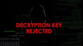 Decryption key rejected, unsuccessful attempt to hack account, coder in hoodie. Stock photo stock photos