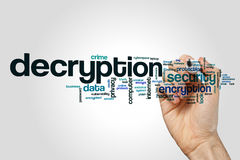 Decryption word cloud concept on grey background Royalty Free Stock Photo