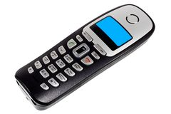DECT phone. With blue screen isolated on white background royalty free stock image