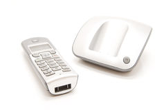 Dect phone. Isolated wireless silver dect phone Stock Images