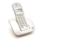 Dect telephone. Isolated style wireless silver telephone Stock Photos