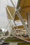 Decumano die de structuur van het dakijzer, EXPO 2015 Milaan in de schaduw stellen Royalty-vrije Stock Afbeeldingen