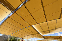 Decumano  tensile roof, EXPO 2015 Milan. MILAN, ITALY - June 24: view of the tensile roof covering main walk at exhibition, shot  on jun 24 2015  Milan, Italy Royalty Free Stock Image