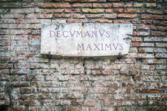 Decumanus Maximus road sign in Rome, Italy Royalty Free Stock Images