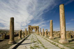 Decumanus street in Timgad Royalty Free Stock Photography