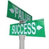 decyzi niepowodzenia punktu znaka sukcesu kręcenie vs Zdjęcie Royalty Free