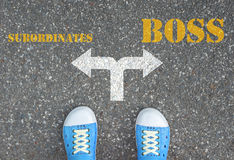 Decyzja robić przy rozdrożem - podwładni lub szef Zdjęcia Stock