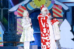 Ded Moroz (Father Frost) and Snegurochka (Snow Maiden) Stock Image