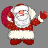 Ded Moroz Santa Claus with gifts. The figure of Santa Claus on grey background Stock Image