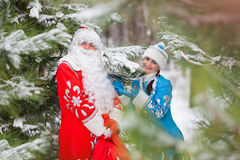 Ded Moroz (Vader Frost) en Snegurochka (Sneeuwmeisje) met giften doen in zakken Royalty-vrije Stock Foto's