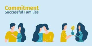 Dedicación acertada de la demostración de las familias el uno al otro ilustración del vector