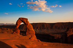 Dedicate Arch Sunset in Arches National Park, Utah. Golden Moment of Dedicate Arch during Sunset in Arches National Park, Utah Royalty Free Stock Photos