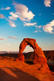 Dedicate Arch Sunset in Arches National Park, Utah. Golden Moment of Dedicate Arch during Sunset in Arches National Park, Utah Stock Photography