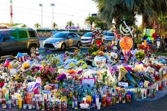 Dedicated flower bed of the Las Vegas Shooting victims Stock Photo