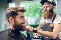 Dedicated hairstylist using scissors and comb while giving a coo Royalty Free Stock Photography